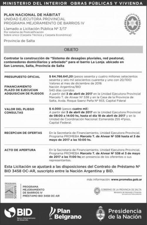 Licitación: LLAMADO A Licitacion Publica Nº 3 PROMEBA IV MHF