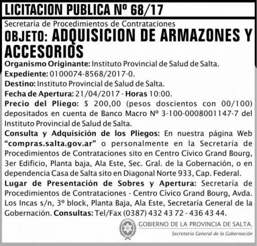 Licitación: Licitacion Publica 68/17 SGG IPS
