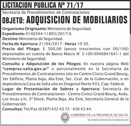 Licitación: Licitacion Publica 71/17 SGG MS