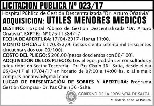 Licitación: Licitación Pública 23/17 MSP Oñativia
