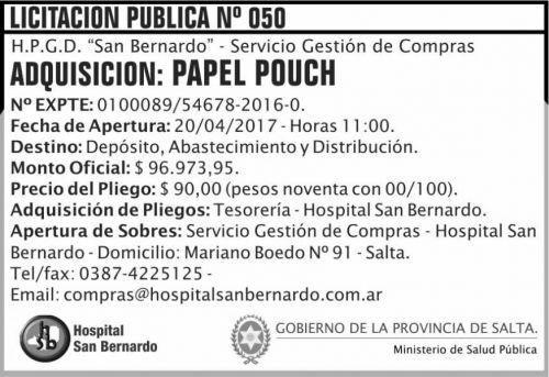 Licitación: Licitacion Publica 50/17 MSP SB