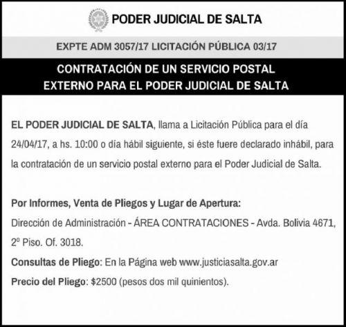 Licitación: LICITACIÓN PÚBLICA 03/17 ---PODER JUDICIAL