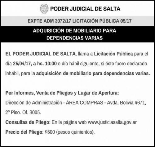 Licitación: LICITACIÓN PÚBLICA 05/17 - PODER JUDICIAL SALTA