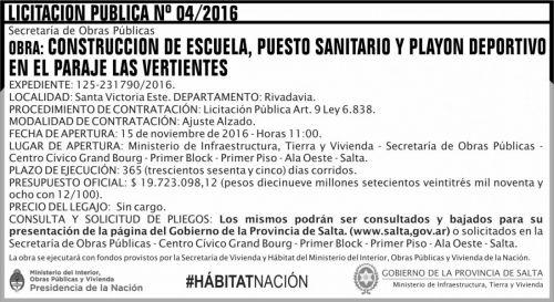 Licitación: Licitación Pública Nº 04/2016