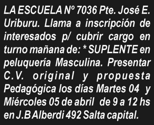 Concurso de Precios: ESCUELA Nº 7036 Pte. José E. Uriburu