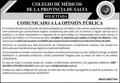 Edictos / Comunicados: COLEGIO DE MEDICOS DE SALTA