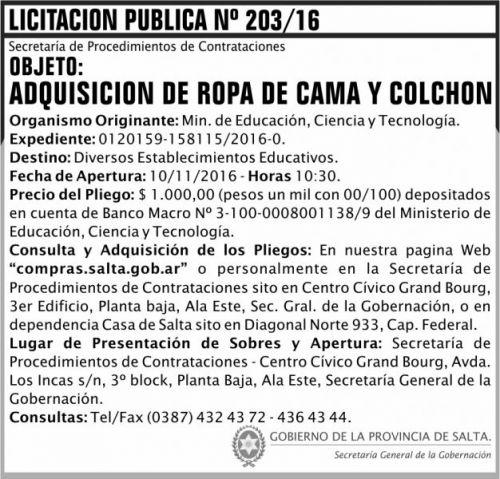 Licitación: Licitación Pública Nº 203/16