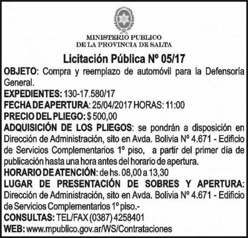 Licitación: LICITACIÓN PÚBLICA 05/17 MINISTERIO PÚBLICO SALTA