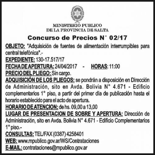 Concurso de Precios: Concurso de Precios Nº 2/17 - MINISTERIO PÚBLICO SALTA