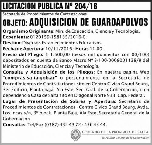Licitación: LICITACION PUBLICA N° 204/16