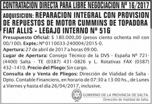 Compra Directa: Contratacion Directa Libre Negociacion 16/2017 DVS