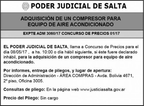 Concurso de Precios: Expte Adm 3060-17 Adquisicion Compresor Aire Acond
