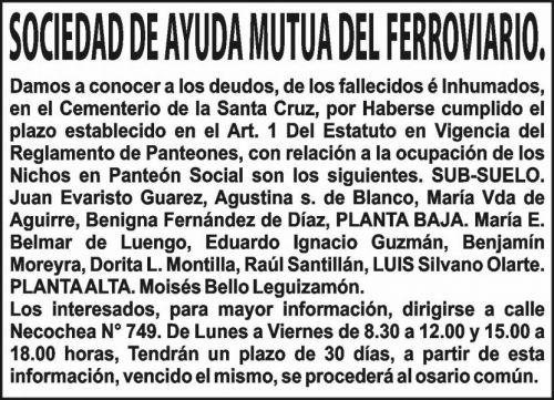 Edictos / Comunicados: SOCIEDAD DE AYUDA MUTUA DEL FERROVIARIO