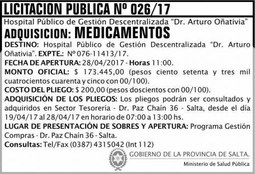 Licitación: Licitación Pública 26/2017 MSP Oñativia