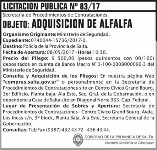 Licitación: Licitacion Publica 83/17 SGG MS