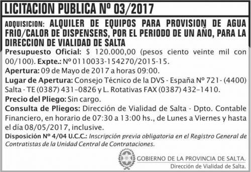 Licitación: Licitacion Publica 03/2017 DVS