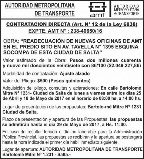 Compra Directa: AUTORIDAD METROPOLITANA DE TRANSPORTE