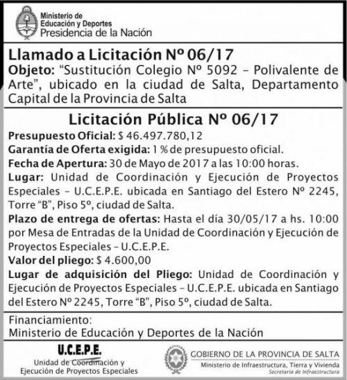 Licitación: Licitacion Publica 06/17 MEDN Ucepe