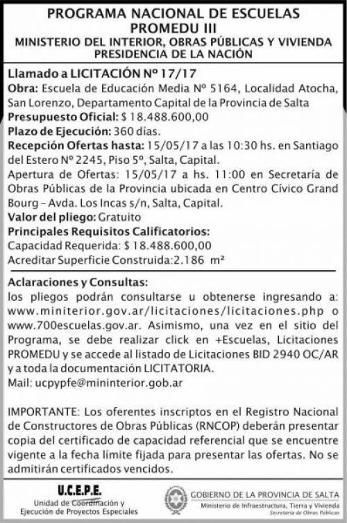 Licitación: Licitacion Publica 17/2017 MITV Promedu III