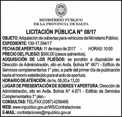 Licitación: LICITACION PUBLICA  Nº 08/2017 Ministerio Público