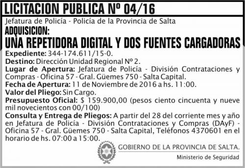 Licitación: Licitación Pública Nº 04/16