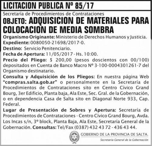 Licitación: Licitacion Publica 85/17 SGG MDHJ