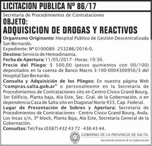 Licitación: Licitacion Publica 86/17 SGG SB
