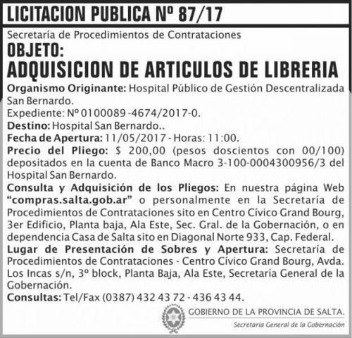 Licitación: Licitacion Publica 87/17 SGG SB