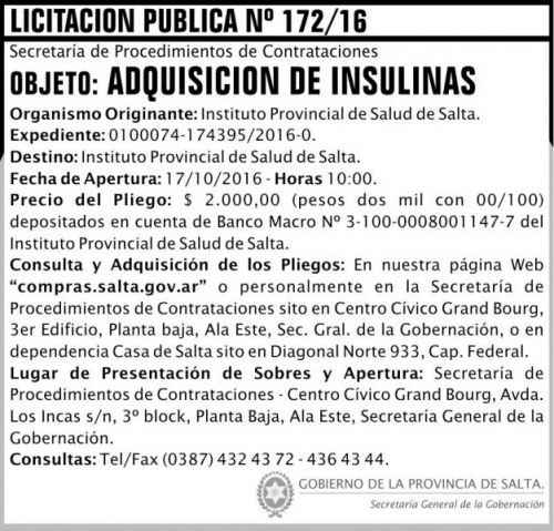 Licitación: Adquisición de Insulinas
