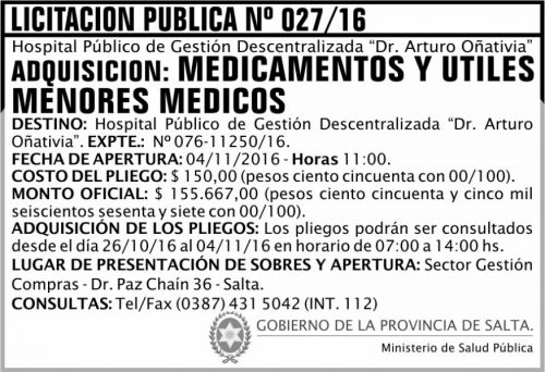 Licitación: Licitación Pública Nº 027/16