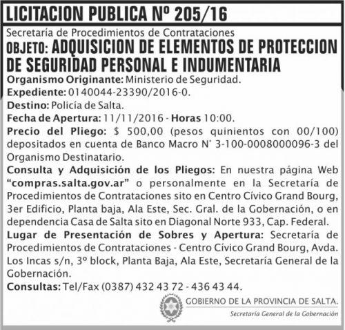 Licitación: Licitación Pública Nº 205/16