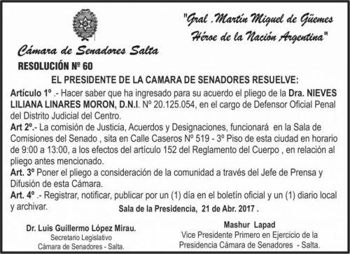 Edictos / Comunicados: CAMARA DE SENADORES SALTA