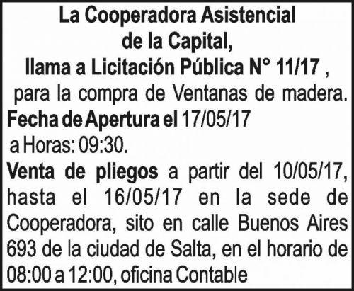 Licitación: Licitación Publica 11/17 - Cooperadora Asistencial de la Capital