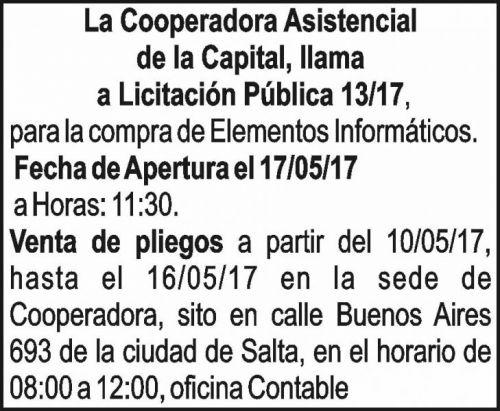 Licitación: Licitación Publica 13/17 - Cooperadora Asistencial de la Capital