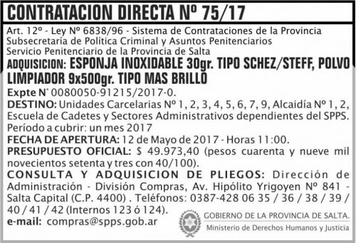 Licitación: Contratacion Directa 75/17 SPPS MDHJ