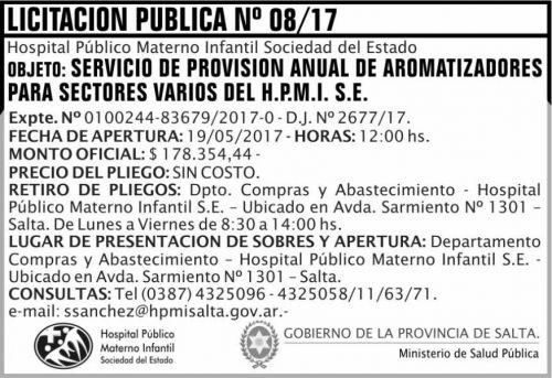 Licitación: Licitacion Publica 08/17 MSP HPMI