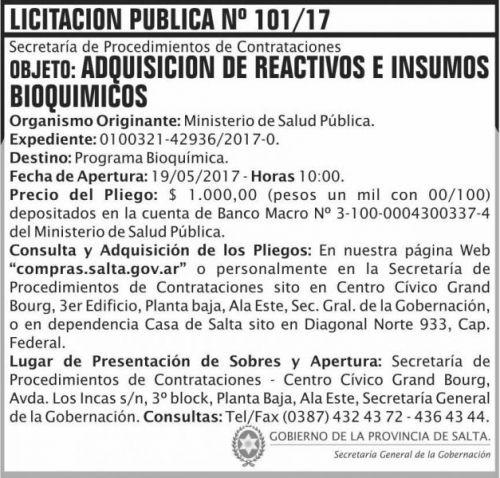 Licitación: Licitacion Publica 101/17 SGG MSP