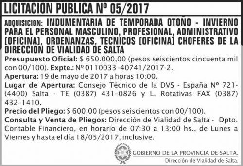 Licitación: Licitacion Publica 05/2017 DVS