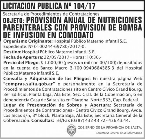 Licitación: Licitacion Publica 104/17 SGG HPMI
