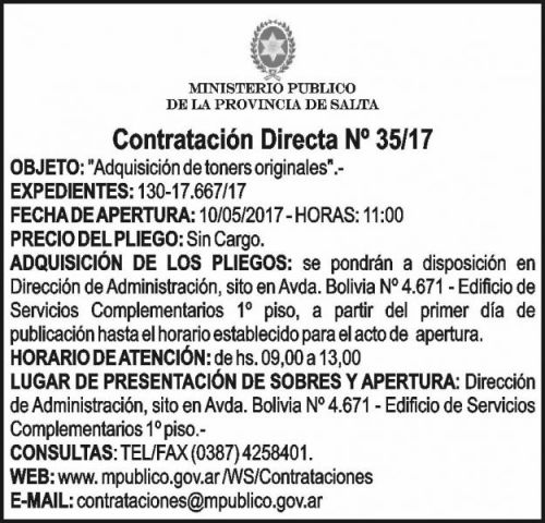 Compra Directa: 002145 MINISTERIO PÚBLICO SALTA