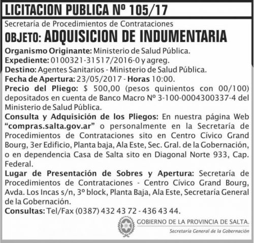Licitación: Licitacion Publica 105/17 SGG MSP