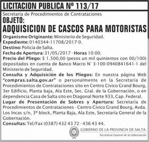 Licitación: Licitación Pública Nº 113