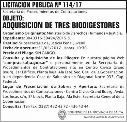 Licitación: Licitación Pública Nº 114