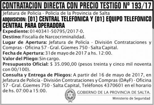 Licitación: Contratación Directa Nº 193