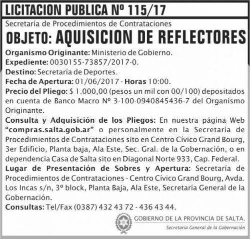 Licitación: Licitacion Publica 115 SGG MG