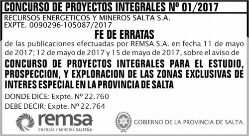Concurso de Precios: Fe de errata Concurso de Proyectos Integrales Nº 01 REMSA