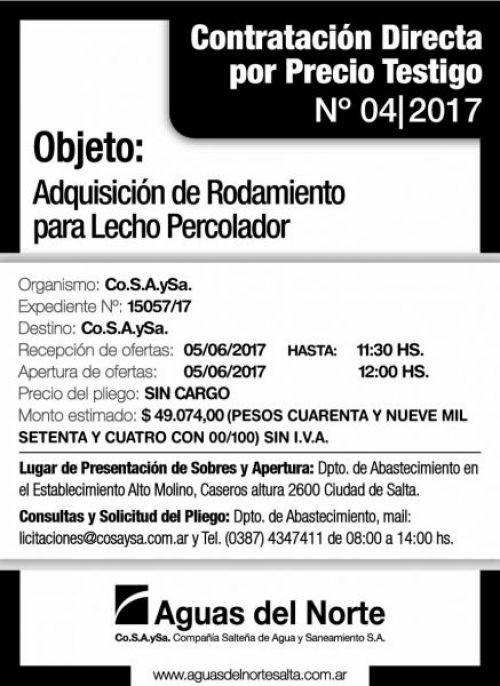 Compra Directa: AGUAS DEL NORTE - Contratación Directa 04/2017