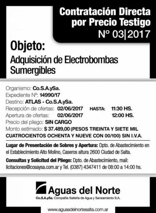 Compra Directa: AGUAS DEL NORTE - Contratación Directa 03/2017