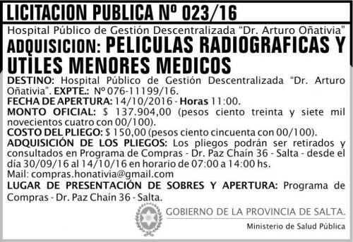 Licitación: Películas Radiográficas y útiles menores médicos