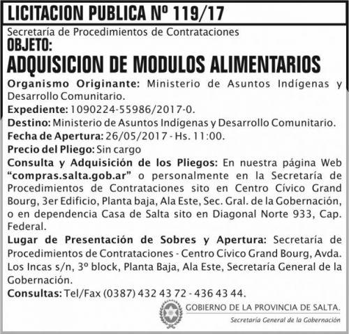 Licitación: Licitacion Publica 119 SGG MAIDC